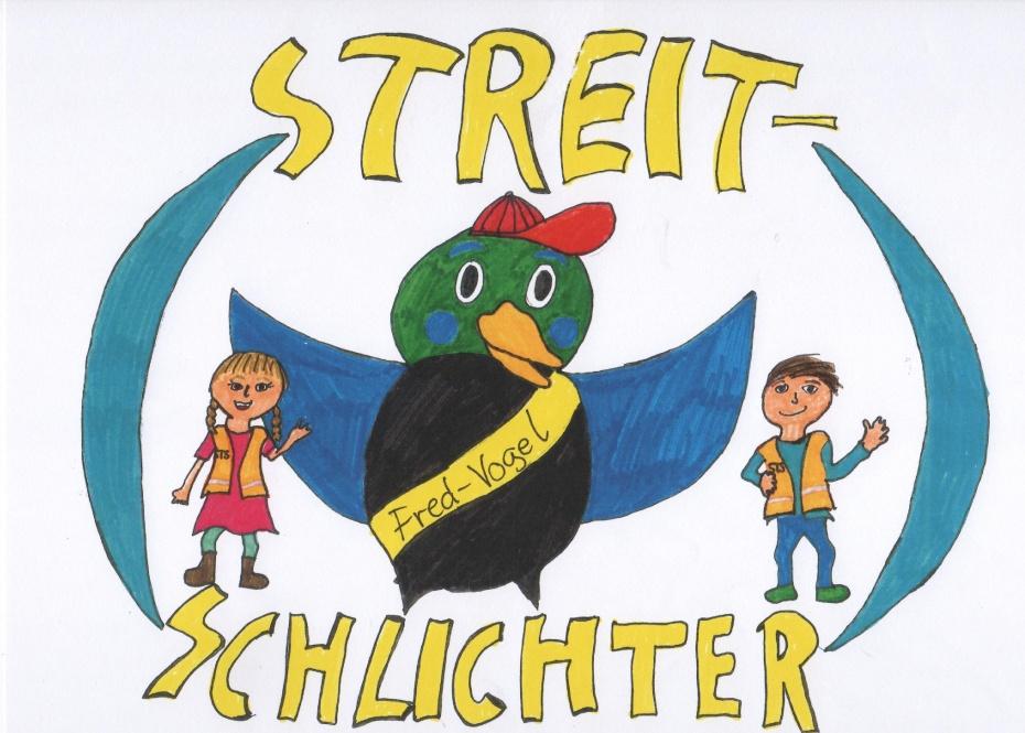 das neue Streitschlichterlogo der Fred-Vogel-Grundschule gezeichnet von Marietta aus der 6a