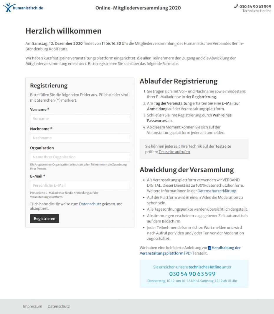 Registrierungsseite aufrufen und persönliche Daten eintragen