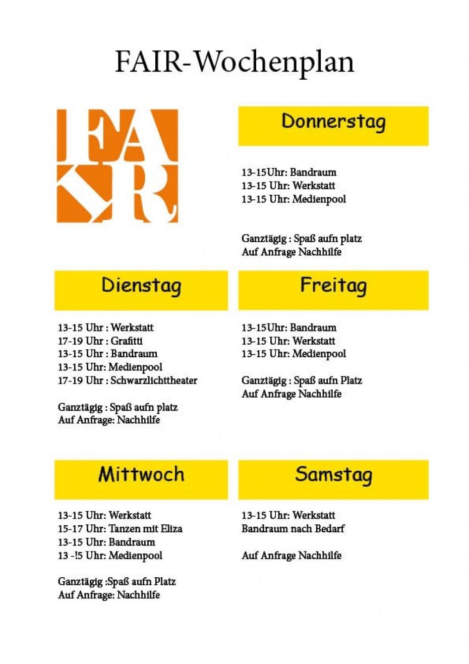Der neue Wochenplan von uns für Euch ;)
