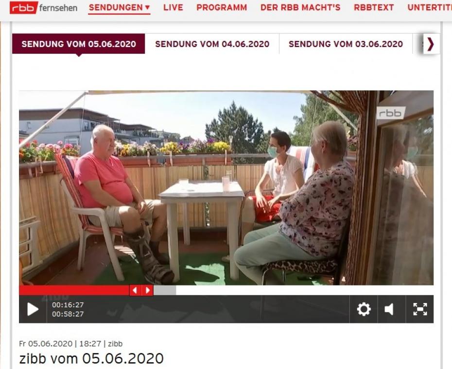 Filmbeitrag im zibb am 05.05.2020