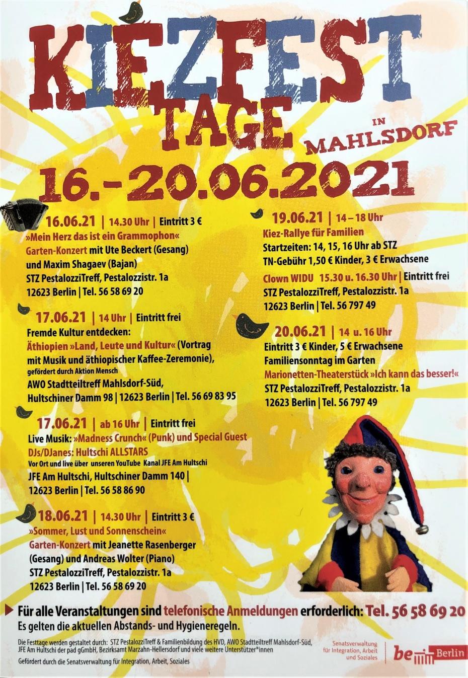 Flyer Kiezfesttage Mahlsdorf