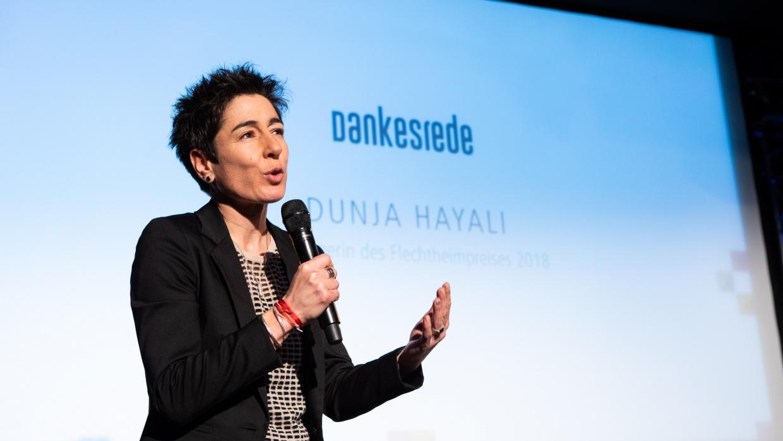 Dunja Hayali bei der Verleihung des Flechtheimpreises für Demokratie und Menschenrechte 2018