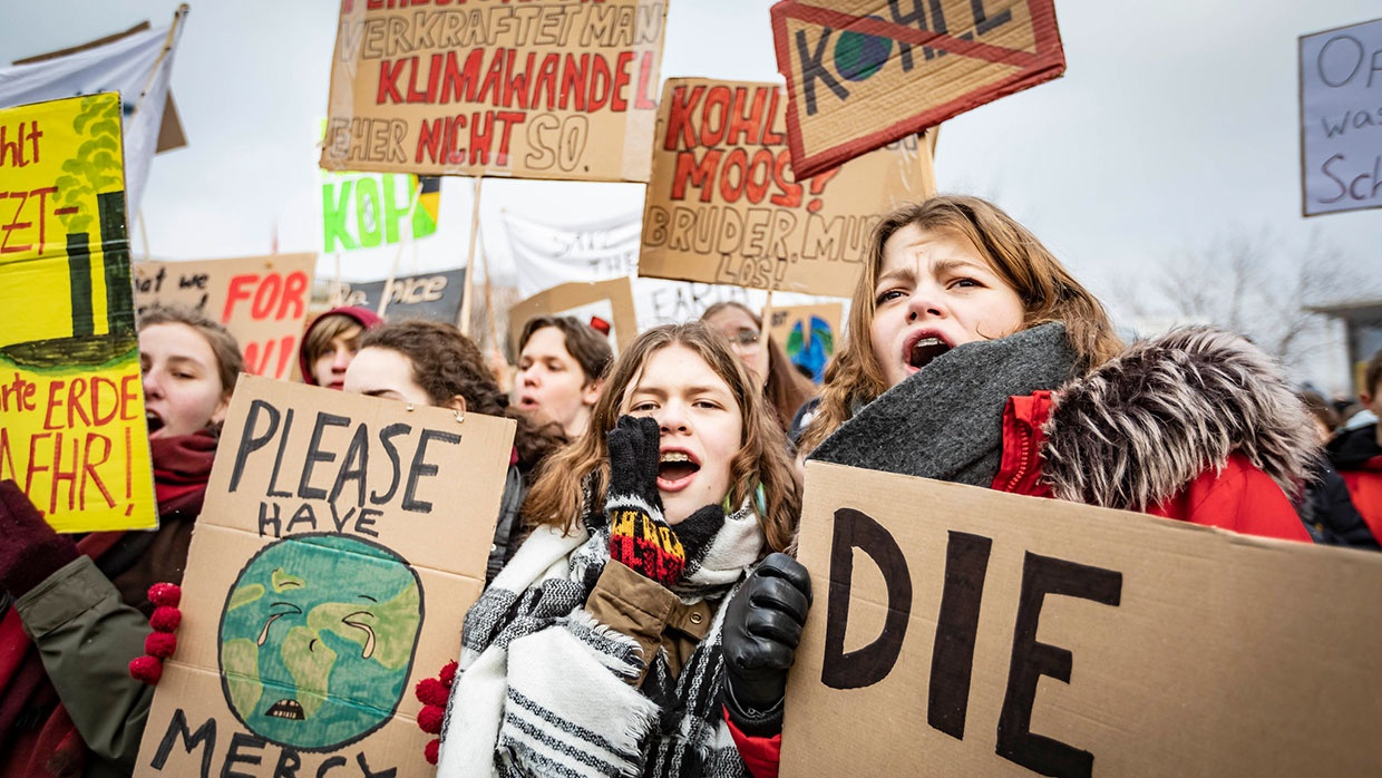 Demonstrierende Schüler_innen bei den Fridays for Future-Protesten am 25. Januar 2019 in Berlin