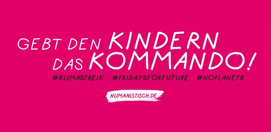 Banner des Humanistischen Verbandes Berlin-Brandenburg bei der Demonstration zum Klimastreik 2019